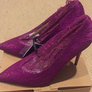 Beautiful fuchsia lace heels